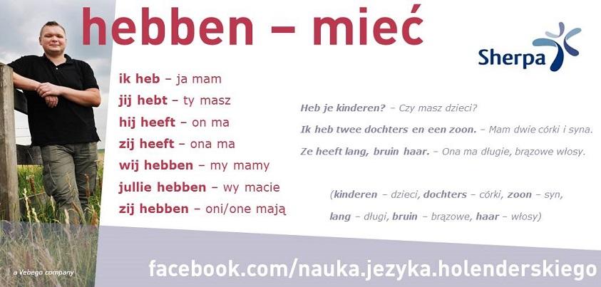 czasownik w języku niderlandzkim hebben