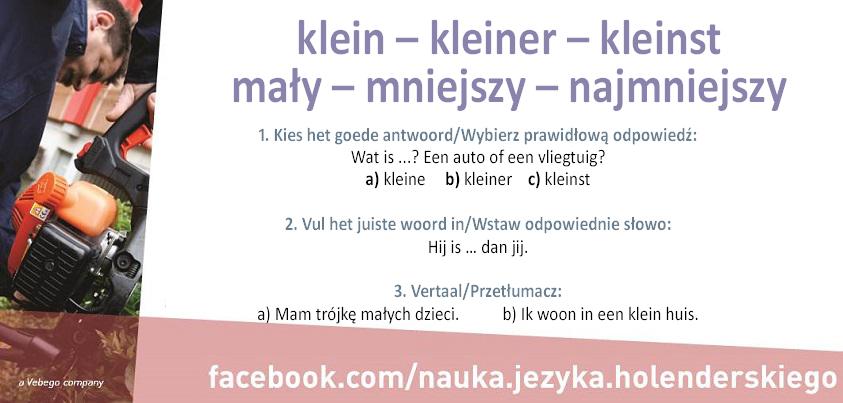Stopniowanie i użycie przymiotnika klein – mały, mała, małe w języku niderlandzkim