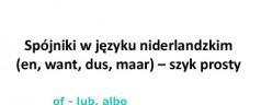 Spójniki w języku niderlandzkim (en, want, dus, maar) – szyk prosty